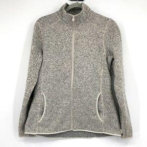 Eddie Bauer Full Zip Heathered Fleece Sweater